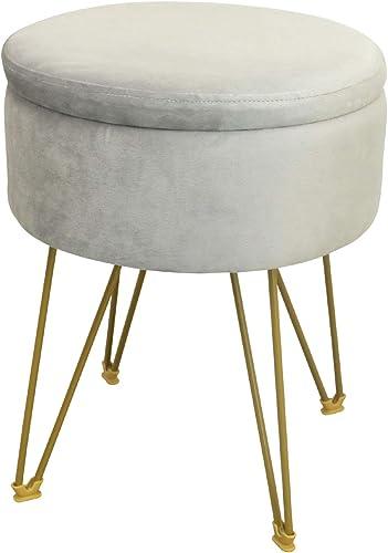 GOLDSUN Storage Ottoman Round Velvet Tufted Footrest Stool