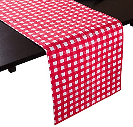Amazoncom Linentablecloth Red And White Checkered Table Runner 13