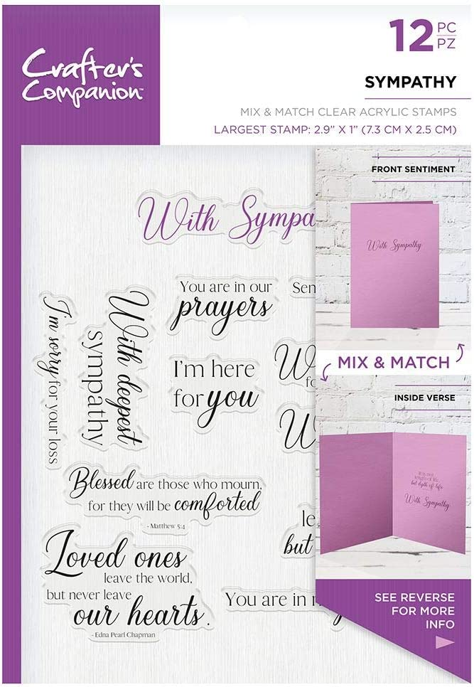 Transparent Crafters Companion CC-ST-CA-SYM Verse /& Font Acrylic Stamp-Sympathy