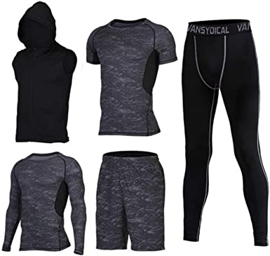: Mens Running Suit Fitness Tracksuit Gym Sports