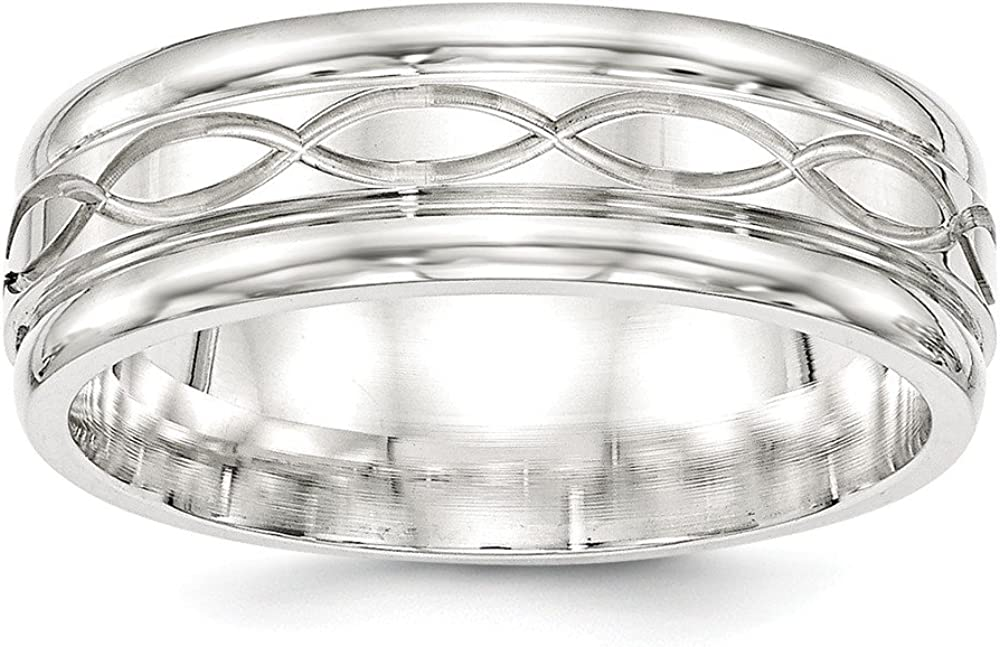 Bridal Wedding Bands Fancy Bands SS 7mm Polished Fancy Band Size 10 Size 11.5