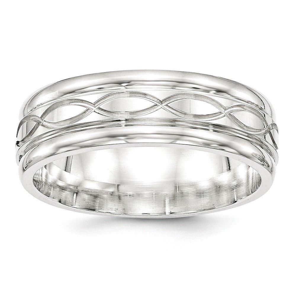 Sterling Silver Wedding Band Ring Beveled Standard Polished 7 mm SS 7mm Fancy B