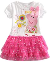 Coralup Little Girls Cotton Casual Dress(18 Months-8 Years)