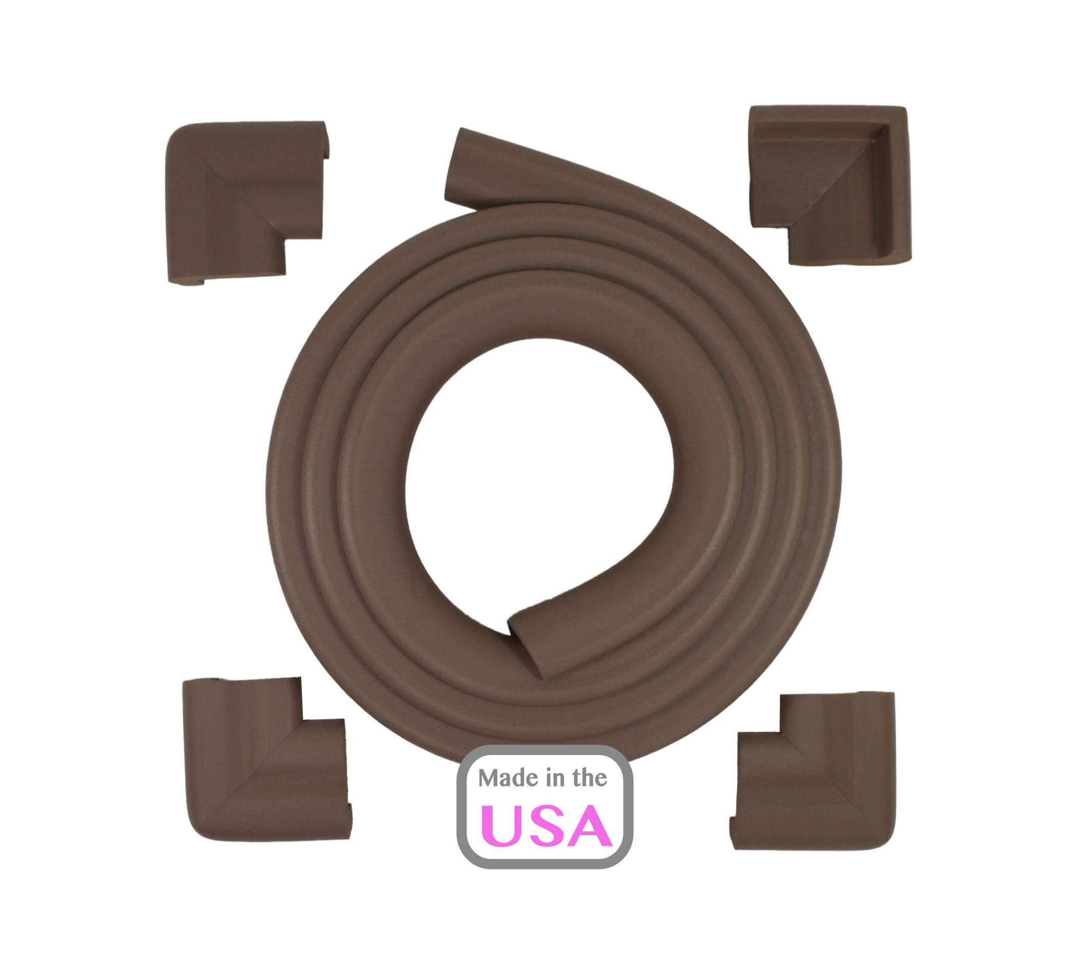 OOPSY Child Safety Jumbo Table Guard 12 Ft/ 4 Corners, Brown