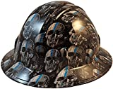 Texas America Safety Company Hydro Dipped Full Brim Style Hard Hat - Thin Blue Line USA Flag and Skulls