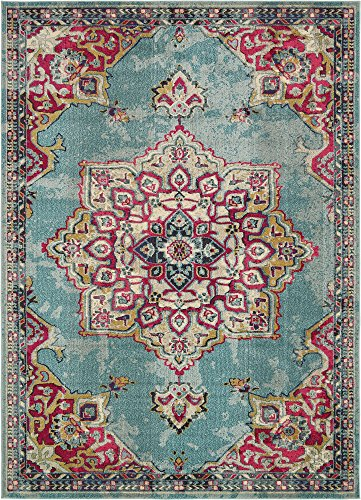 Unique Loom Medici Collection Floral Medallion Traditional Vintage Light Blue Area Rug (9' 0 x 12' 0)