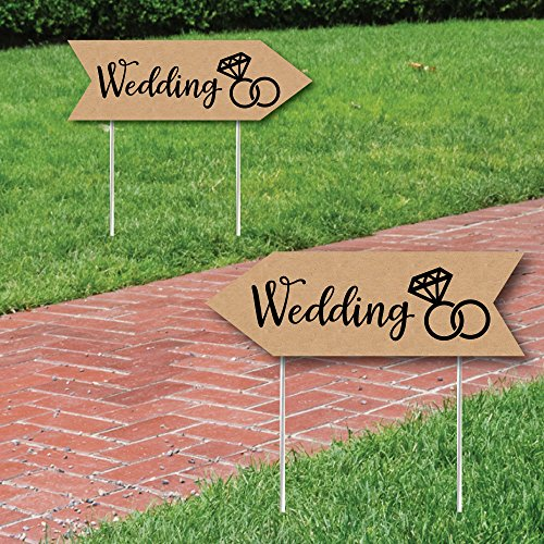 Rustic Wedding Signs - Wedding Sign Arrow - Double Sided Directional Yard Signs - Set of 2 Wedding Signs