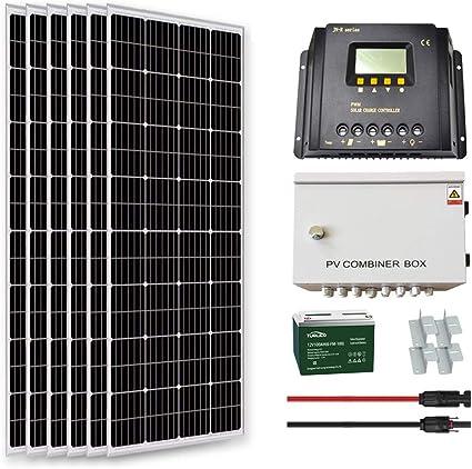 Amazon.com : Goosun 1000 Watt Solar System Solar Panel Kit Off Grid 6PCS  160W 12 Volt Mono Solar Panels+6 String Combiner Box+ 60A PWM Charge  Controller + 1PC 100Ah Battery +Z Mounting