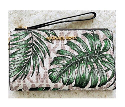 Michael Kors Jet Set Double Zip Wristlet Bag Vanilla Olive Palm (Michael Kors Olive)
