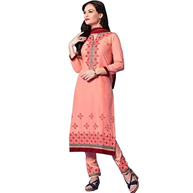 85c3ab600d Amazon.com: Ready to Wear Designer Indian Cotton Embroidered Salwar Kameez  Suits: Clothing