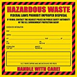 100 Pack- Hazardous Waste Label, 6'' x 6'' (Yellow and Red Label)