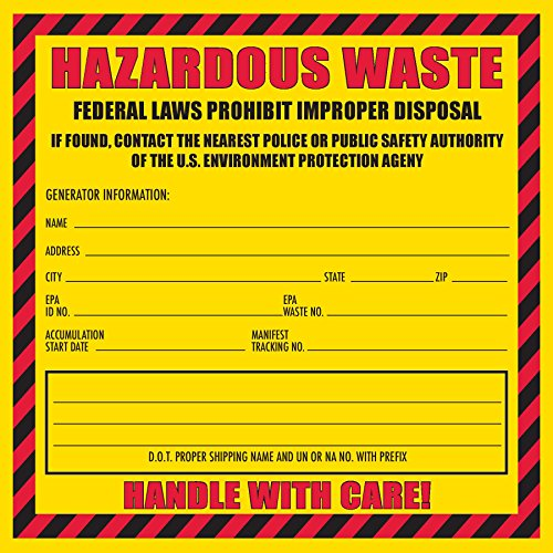 100 Pack- Hazardous Waste Label, 6'' x 6'' (Yellow and Red Label) by Safety Supply Mart