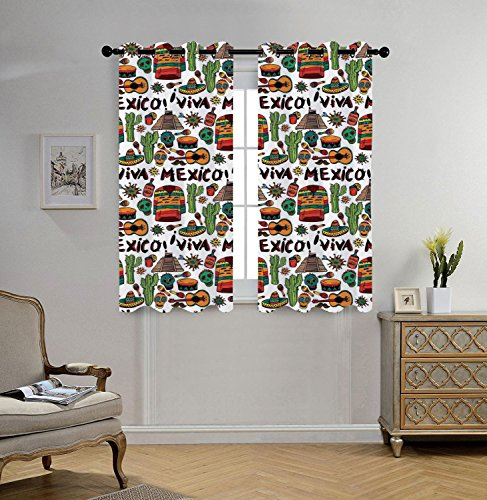 iPrint Stylish Window Curtains,Mexican Decorations,Viva Mexico with Native Elements Poncho Tequila Salsa Hot Peppers Image,Multi,2 Panel Set Window Drapes,for Living Room Bedroom Kitchen Cafe by iPrint