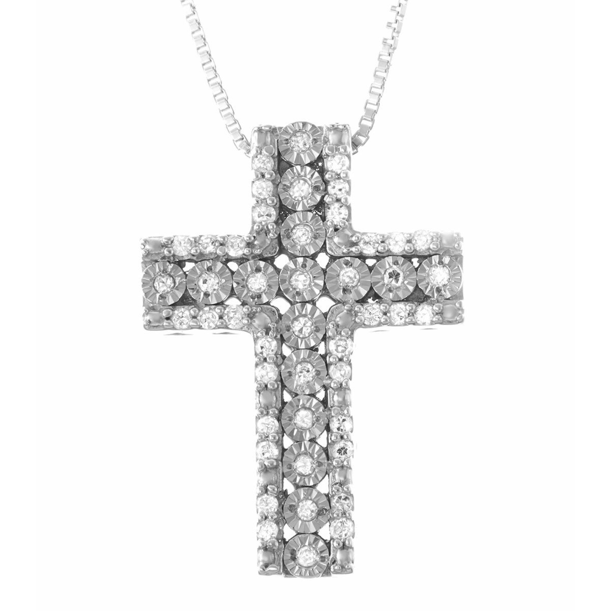a8b02e058f8a Amazon.com  1 5 CTTW Miracle Plate Diamond Cross Pendant in Sterling Silver   Jewelry
