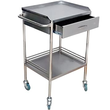 Miidii Stainless Steel 2 Layers With One Drawer Portable Medical Dental Lab  Instrument Trolley Cart Table