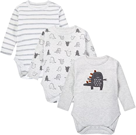 Body para Bebés, Manga Larga, Pack de 3, Pijama de algodón por 0-3 Meses: Amazon.es: Bebé