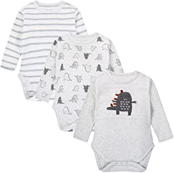 Body para Bebés, Manga Larga, Pack de 3, Pijama de algodón por 0-3 ...