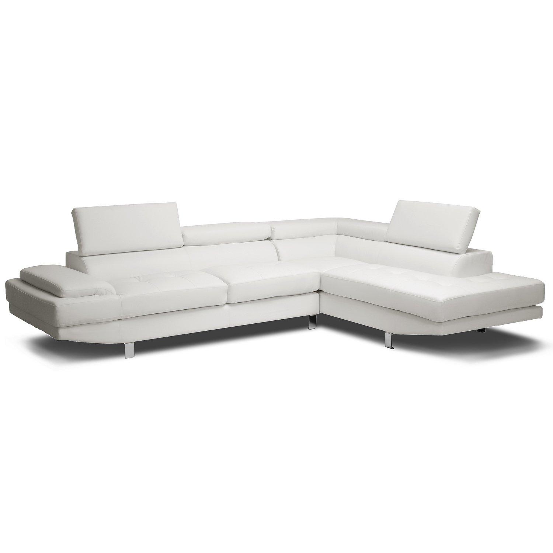 Baxton Studio Selma Leather Modern Sectional Sofa, 119.75L x 89.5W x 28.5H, White by Baxton Studio