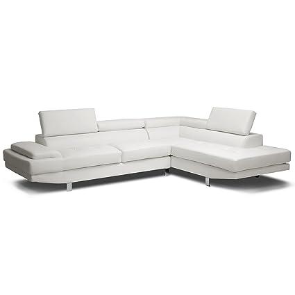 Amazon.com: Baxton Studio Selma Leather Modern Sectional Sofa ...