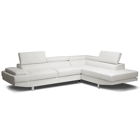 Baxton Studio Selma Leather Modern Sectional Sofa, White