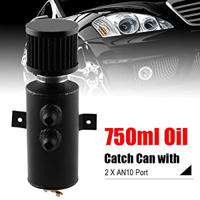 RYANSTAR Baffled Oil Catch Can Oil Breather Tank with Drain Valve 2 Ports 10AN 750ml Black: Automotive