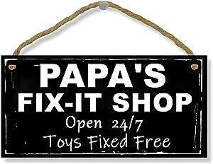 "SAMJOSY 5"" X 10"" Papa's Fix-It Shop Man Cave Signs Garage Home Door Wall Decor Wood Sign"