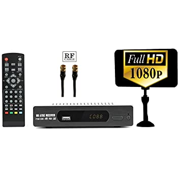 Digital Converter Box + Flat Antenna for Recording & Viewing Full HD Digital Channels for FREE