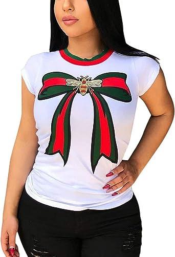 Camisas Mujer Verano con Moda Tops Estampadas Lazo Informales Elegante Ropa Festiva Chic Shirt Manga Corta Cuello Redondo Tshirt Blusa: Amazon.es: Ropa y accesorios