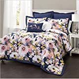 7 Piece Multi Watercolor Floral Themed Comforter Full Queen Set, Boho Chic Bohemian Style, Beautiful All Over Hippie Flowers Pattern, Pretty Stylish Bedding, Vibrant Color Blue Pink White