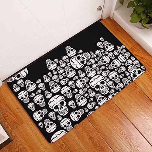 SaveStore Nordic Flannel Waterproof Door Mat Halloween Skull Cartoon Carpet Bedroom Rug Decorative Stair Mats Home Decor Crafts -