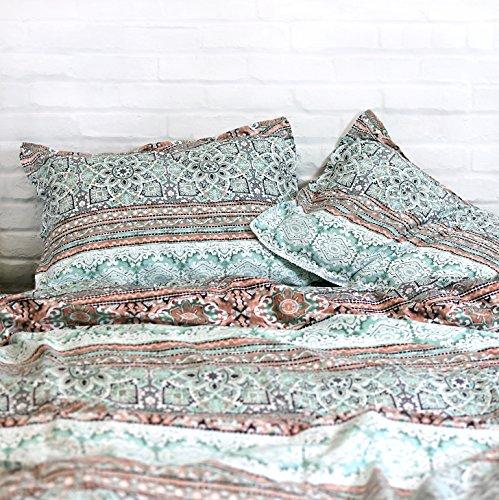 Modern Boho Tribal Bedding Aztec Stripe Print Cotton Duvet Quilt Cover Set Native American Denim Blue and White Bohemian Urban Hippie Geometric Pattern (Queen, Mint Green)