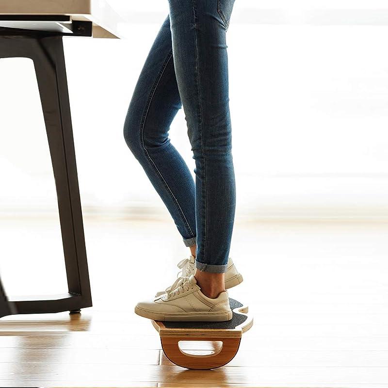 StrongTek Foot Rest Under Desk, Desk Footrest, Rocking Foot Nursing Stool, Rocker Balance Board, Natural Wood, Non-Slip