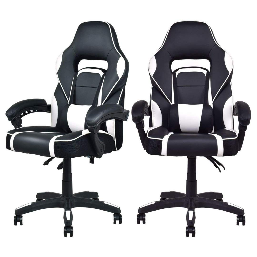 Modern Racing Style Gaming Chairs Thick Padded Seat PU Leather Upholstery Adjustable Recline Design Chair with Waist Pillow Home Office Furniture Decor - Set of 2 White #2115 by KLS14
