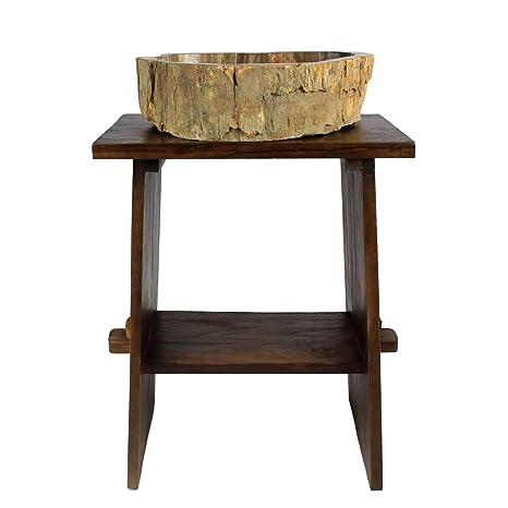 Oriental Galerie Madera – Mueble para Lavabo baño Muebles Mesa Muebles Madera de Teca Marrón Oscuro