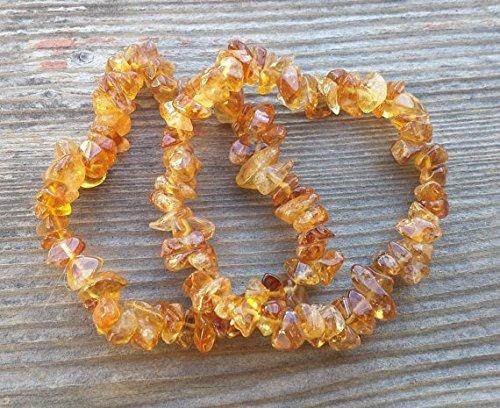 [A&S Crystals] CITRINE Natural Stone Gemstone Stretchy Chip Bracelet