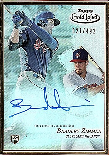 2017 Topps Gold Label Framed Autographs #FABZ Bradley Zimmer RC AUTO (Topps Autograph Auto)