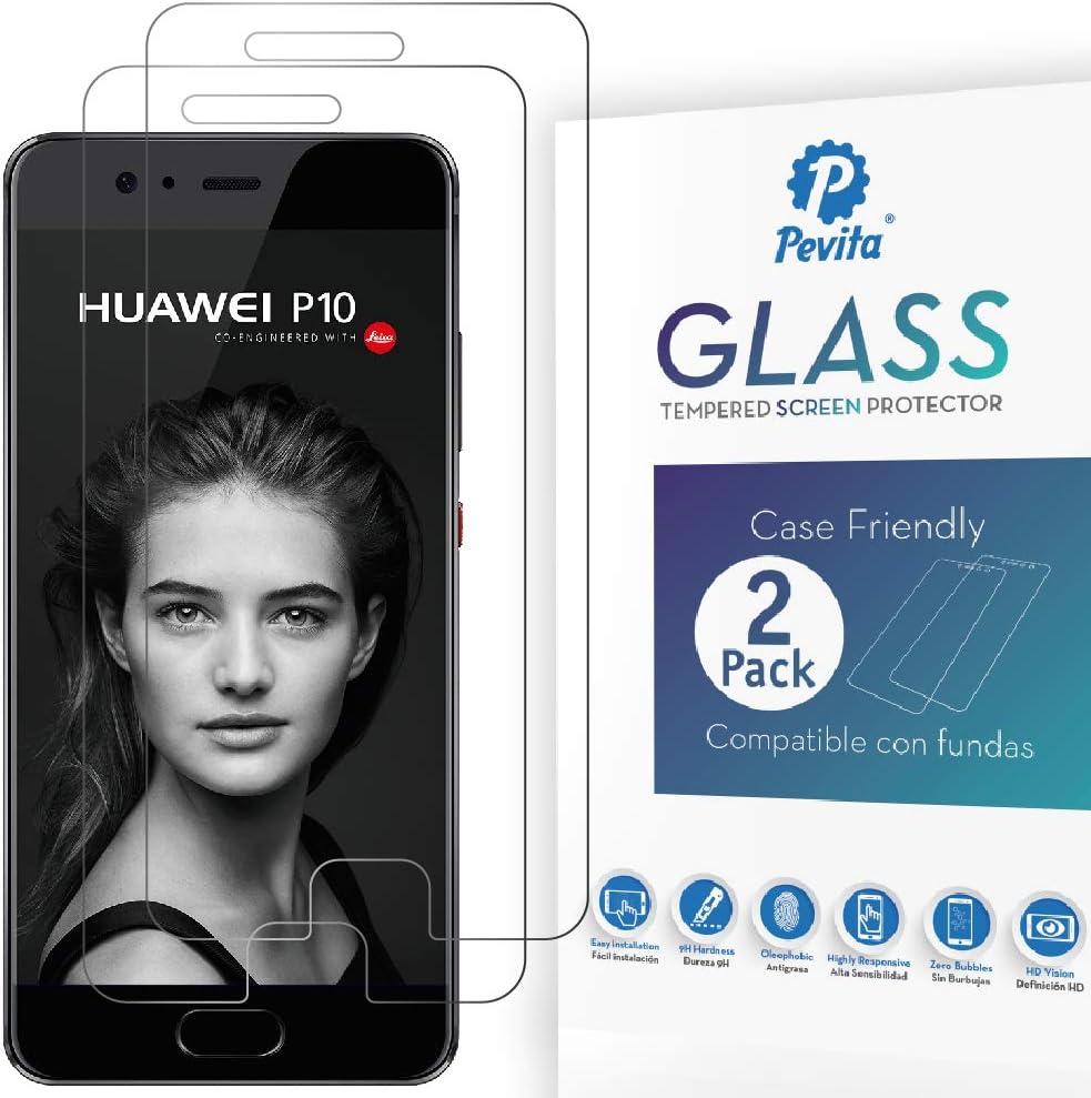 Pevita Protector de Pantalla para Huawei P10 [2 Packs]. Case Friendly. Dureza 9H, Sin Burbujas, Fácil Instalación. Protector de Pantalla de Cristal Templado Premium para Huawei P10: Amazon.es: Electrónica