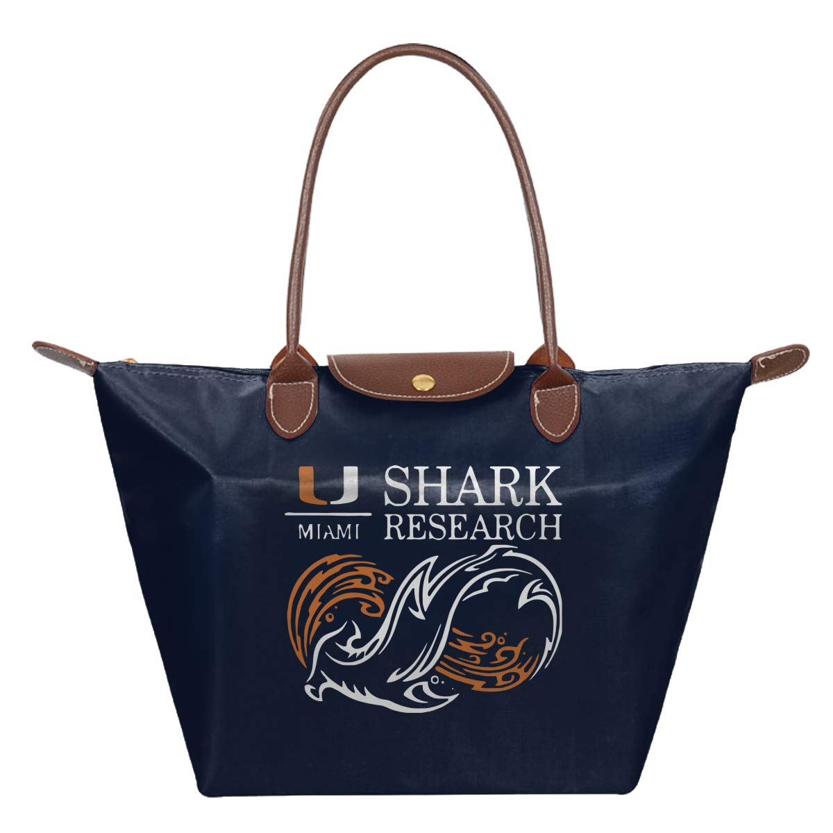 University Of Miami Shark Research Waterproof Leather Folded Messenger Nylon Bag Travel Tote Hopping Folding School Handbags