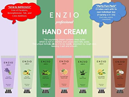 Enzio Professional Grade Shea Butter Based Hand Cream Lotion Gift Set Party Pack 7 Variety x 3 21 Tubes Total Free of Parabens, Benzophenone, Talc, and Color Additives
