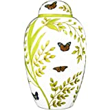 Funeral Urn by Meilinxu - Cremation Urn for Human Ashes Adult and Memorial Urn - Hand Made in Brass & Hand-Painted - Display Burial Urn At Home or in Niche at Columbarium (Butterflies White, Large)