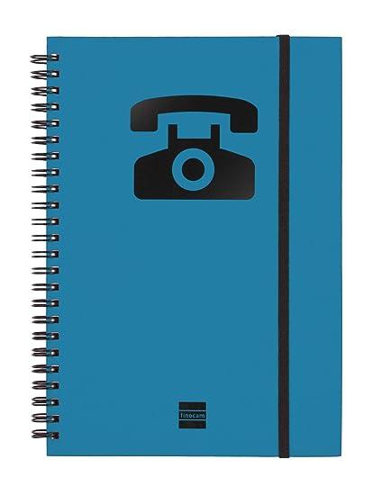 Finocam 8510610 - Agenda telefónica espiral a5, color azul, 1 unidad