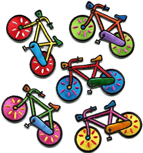 Lot of 5 bicycle retro bike cycle cyclist 70s kids fun embroidered appliques iron-on patches new