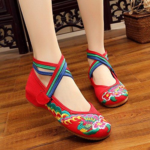 Chnuo Zapatos bordados lenguado del tendón estilo étnico zapatos de tela femenina moda cómodo casual dentro del aumento red