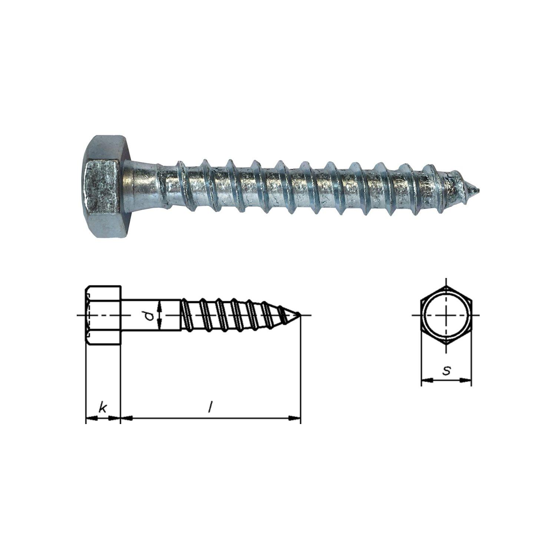 100 St/ück Dresselhaus Sechskant-Holzschrauben - Schl/üsselschrauben 8x100 mm Schraube verzinkt DIN 571