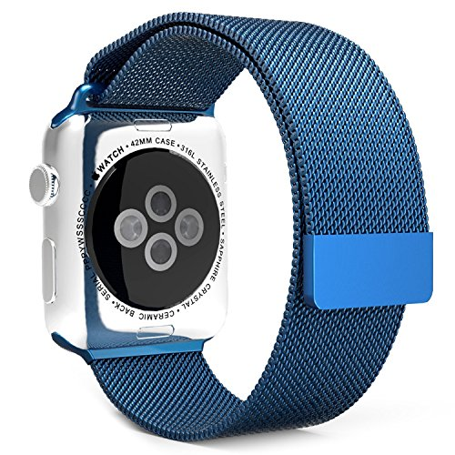 Watch Band Milanese Loop Fully Magnetic Closure Clasp Mesh Milanese Loop Stainless Steel Replacement Ksun iWatch Band Watch Series 3 Series 2 Series 1 Sport and Edition(38mm Blue) by K-Sun