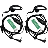 SECUDA G Shape Clip-Ear Headset/Earpiece Mic for Motorola Talkabout 2 Two Way Radio Walkie Talkie 1-pin 100-0 (Pack of 2)