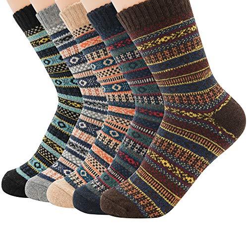 Zando Mens Winter Wool Socks Warm Thick Fuzzy Crew Socks For Cold Weather 5 Pairs 5 Pairs Rhombus Stripe Shoe: 6-11 from Zando