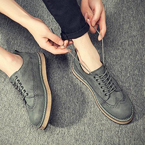 Zapatos De Vestir De Cuero Brogue Go Tour Para Hombre Y Para Mujer Con Cordones Grises