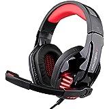 Redlemon Audífonos Gamer de Diadema con Micrófono y Control de Volumen, Sonido Estéreo HD con Aislamiento de Ruido Exterior,