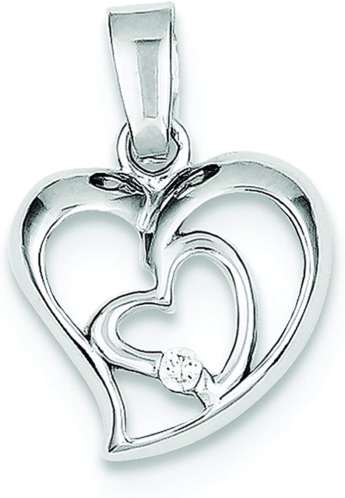 .925 Sterling Silver Rhodium Plated CZ Open Double Heart Charm Pendant